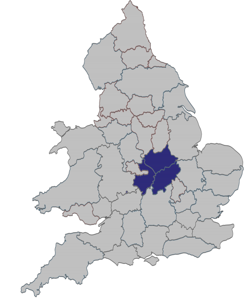 Map of England and Wales with Warwickshire, Northamptonshire and Leicestershire highlighted in blue